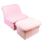 Tween Cloud Chair and Ottoman in Pink Chenille