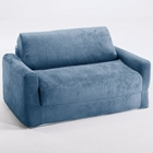 Kids Sofa Sleeper in Blue Micro Suede