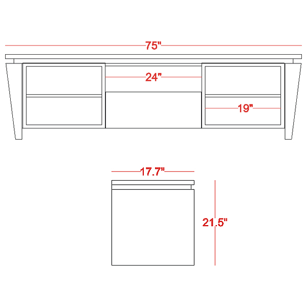 75'' Modern TV Stand in Wenge - FURN-FT75TLW