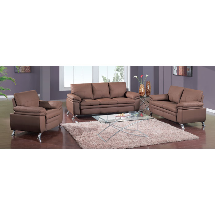 Ambrose Modern 3 Piece Leather Sofa Set