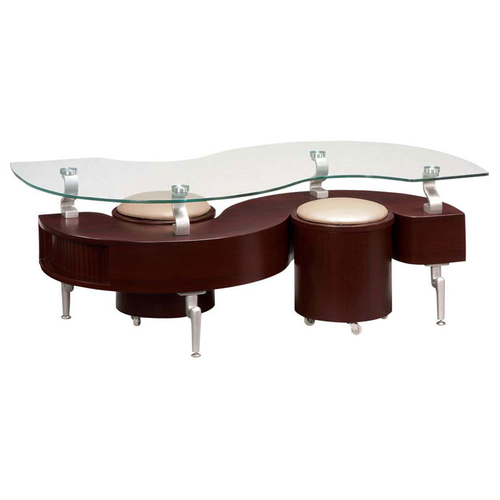 Mayara Coffee Table with Stools - GLO-288C-CT-XX