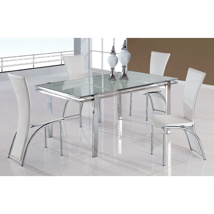 Cecilia Dining Set with Crackle Glass Top Table - GLO-434DT-1499DC-5PC