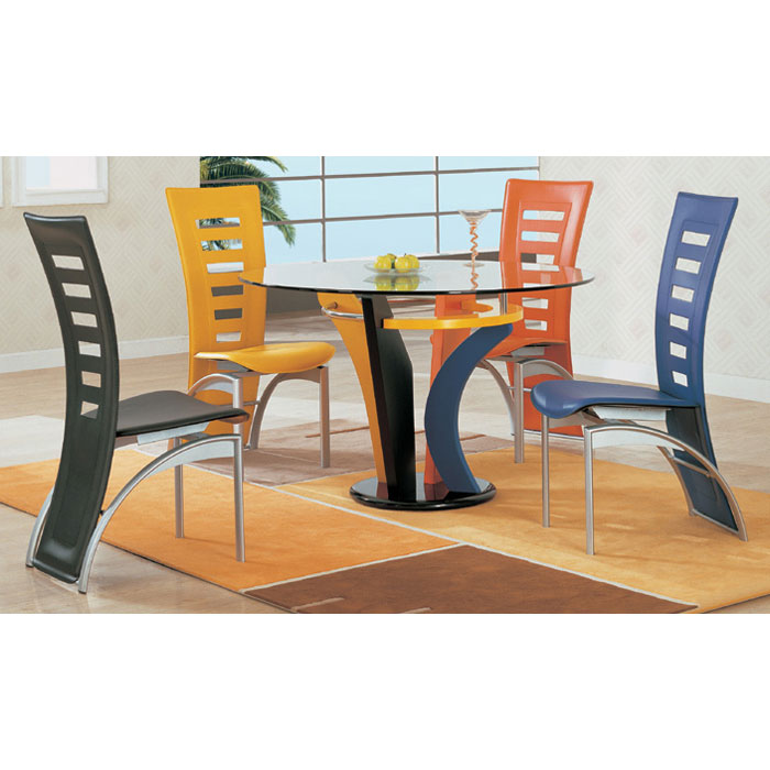 Vanessa 5 Piece Multi-Colored Dining Set - GLO-5443DT-290DC-5PC-M