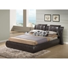 Lucas Leatherette Bed - Brown, Extra Padded Headboard