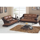 Caio Two Tone Modern Leather Sofa and Loveseat