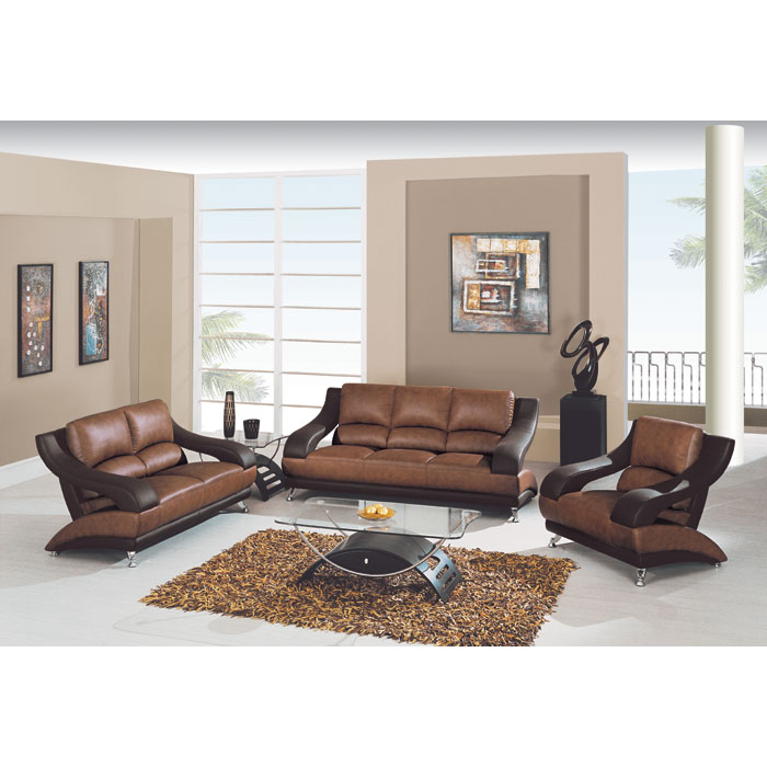 Caio Two Tone Modern 3 Piece Leather Sofa Set