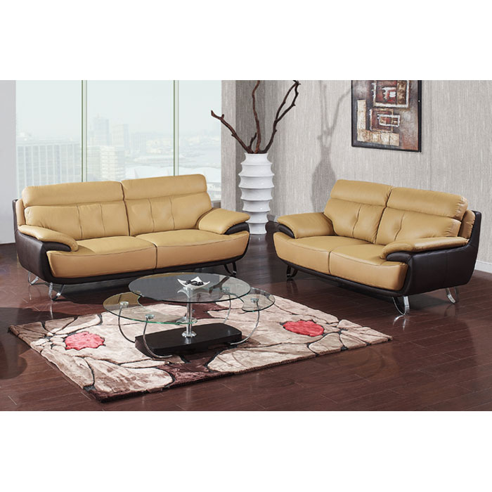Ackley 2 Piece Leather Sofa Set in Cappuccino and Dark Brown