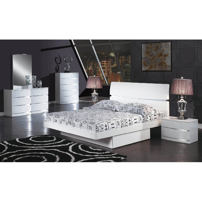 Aurora Contemporary 4 Piece Platform Bedroom Set - GLO-AURORA-4PC