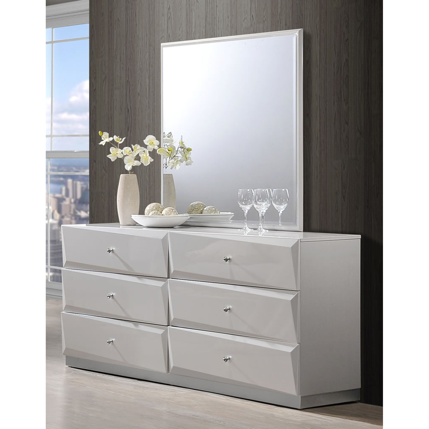 Barcelona Bedroom Set in High Gloss Silver Line - GLO-BARCELONA-116-BED-SET