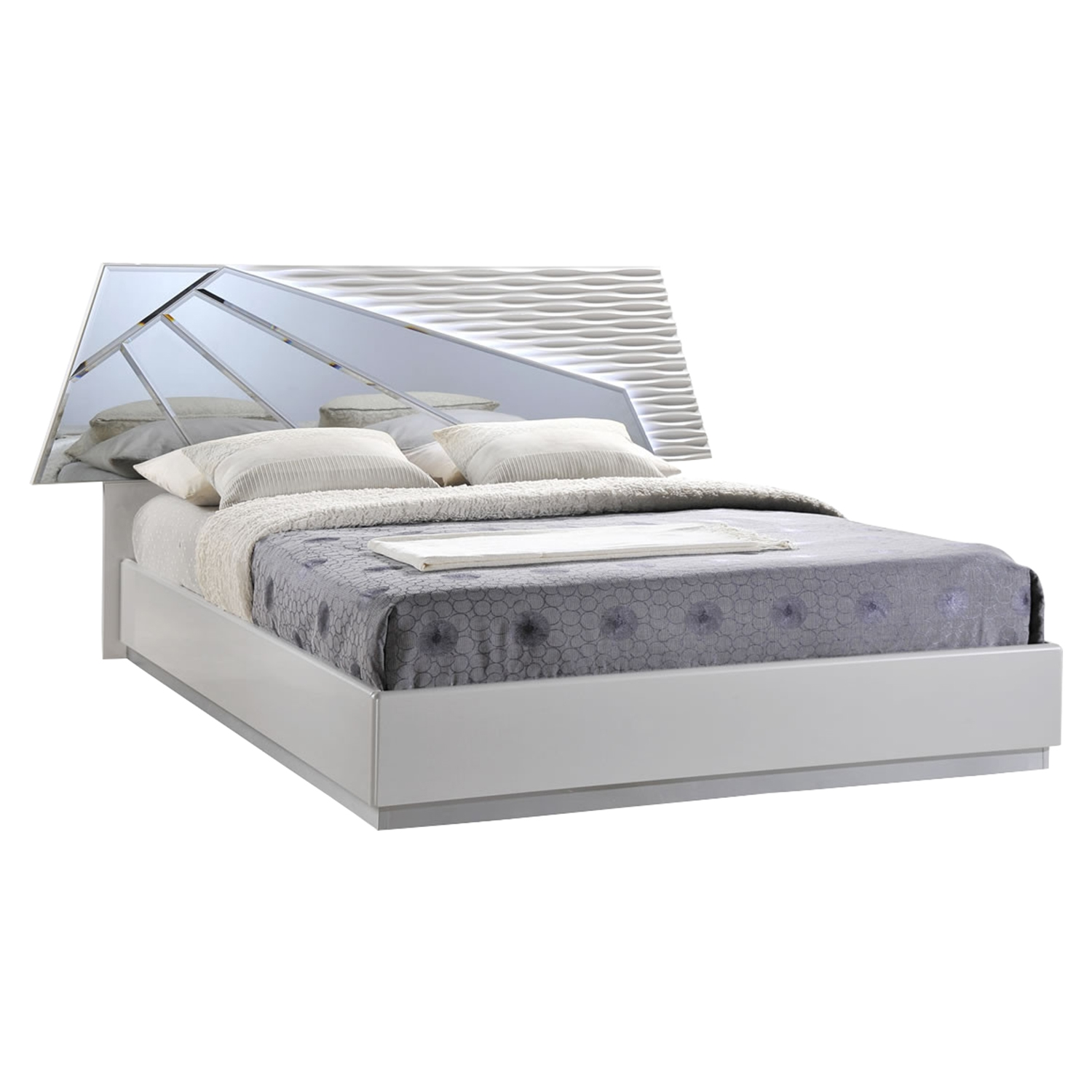 Barcelona Bed in High Gloss Silver Line