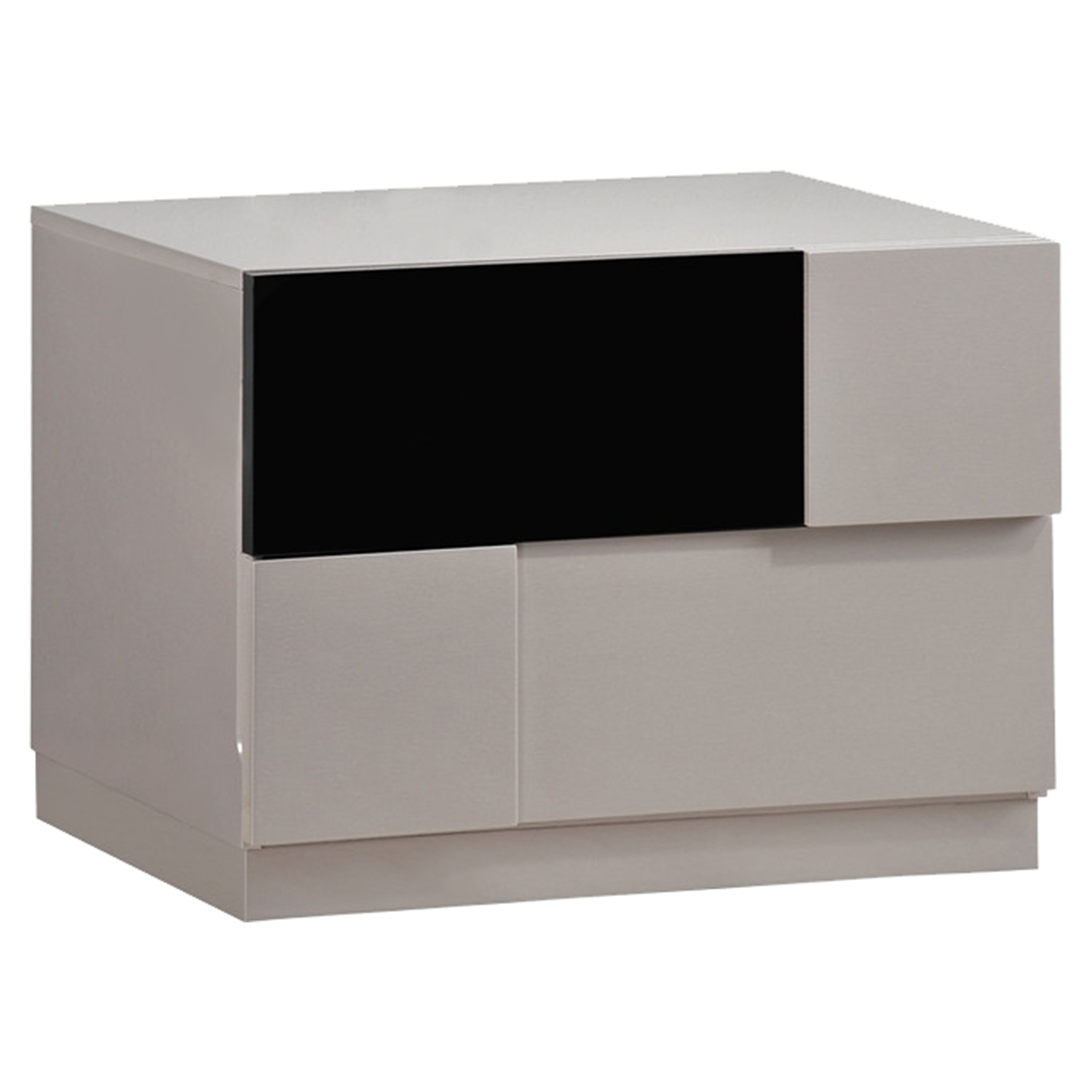 Bianca Nightstand, High Gloss Gray and Black