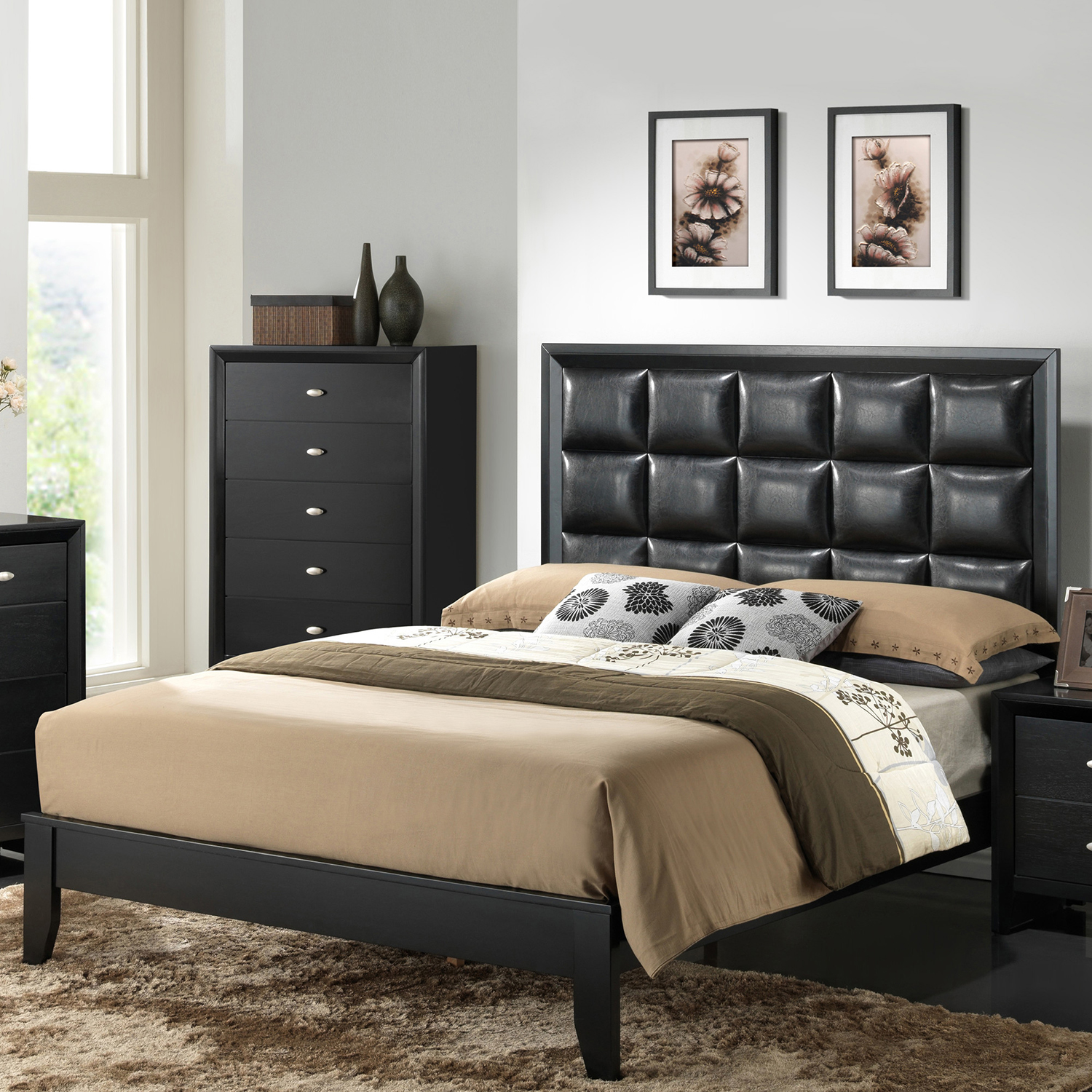 Carolina Bedroom Set in Black - GLO-CAROLINA-FD0035B-BL-M-SET