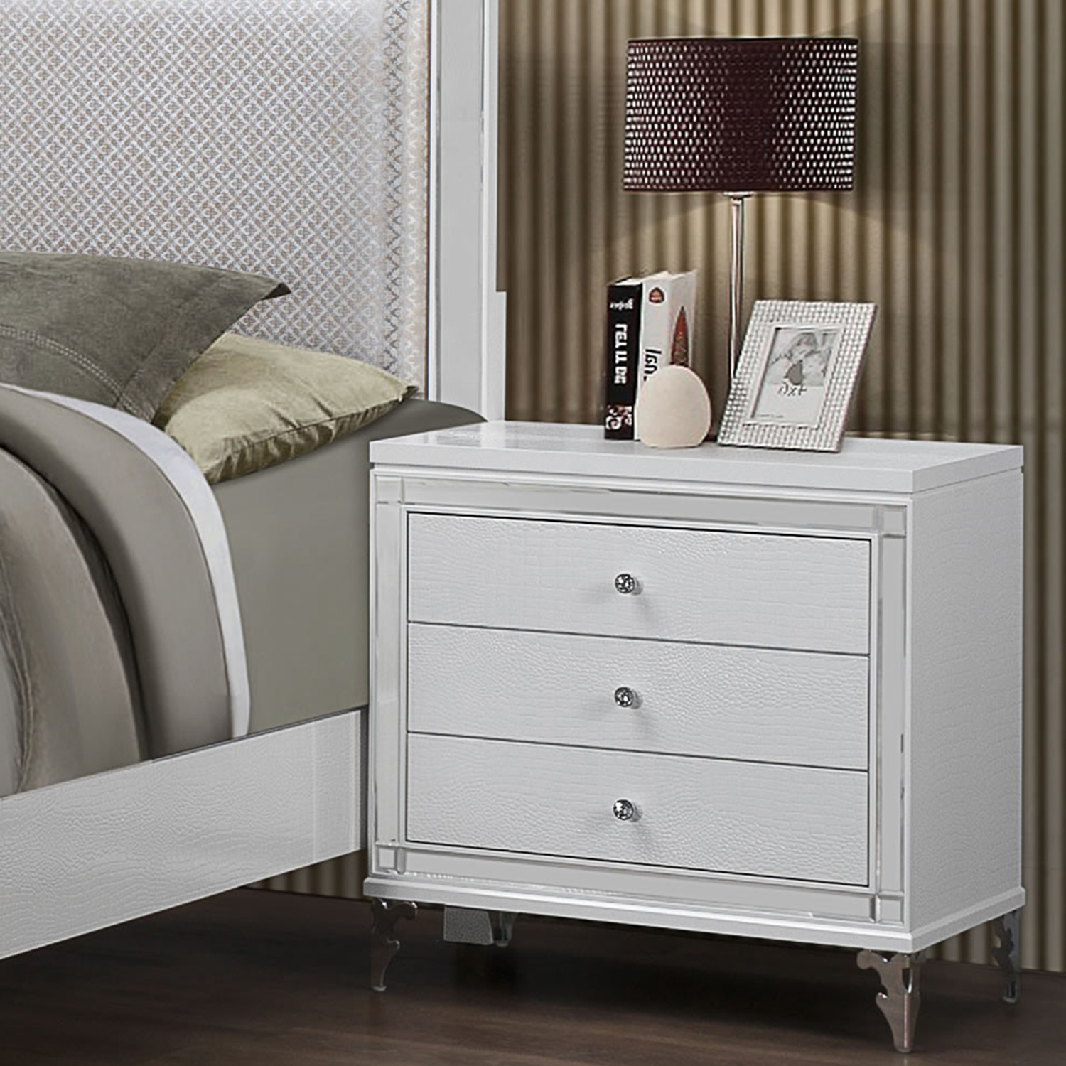 Catalina Nightstand in Metallic White