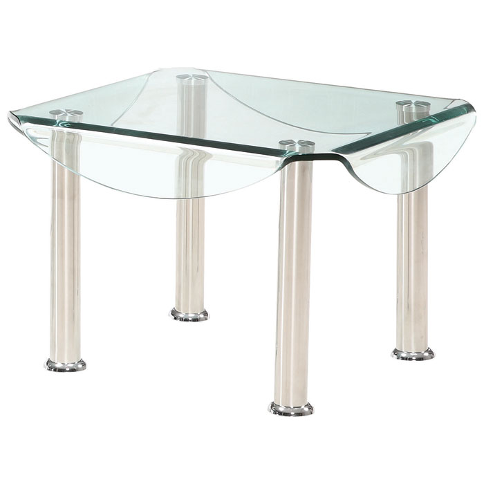 Crystal Coffee and End Table Set with Clear Glass Top - GLO-CB020-CTET