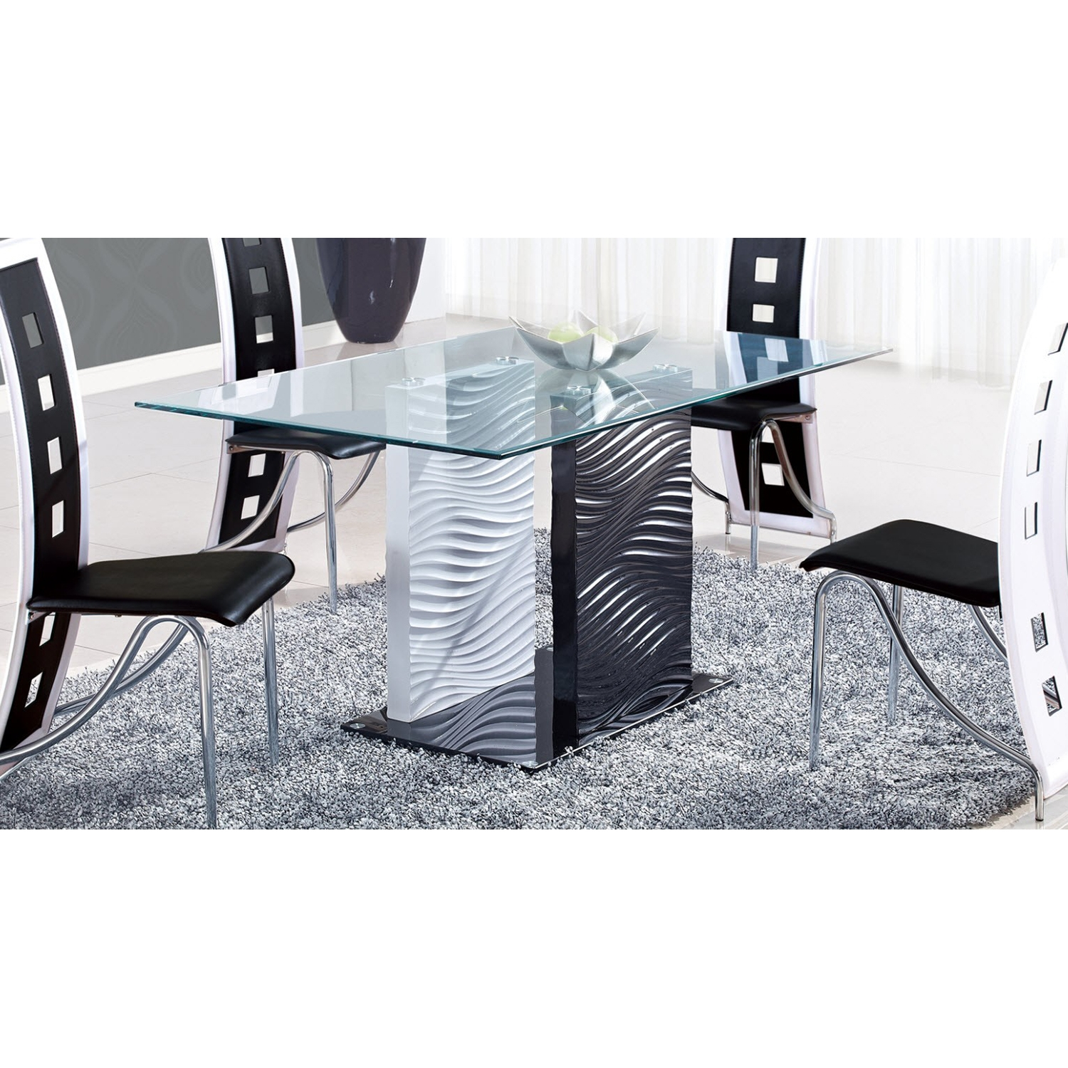Dining Table - Clear and Black Glass, Black and White Legs