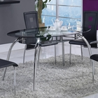 Edgar Dining Table - Glass Top with Black Trim, Chrome Legs