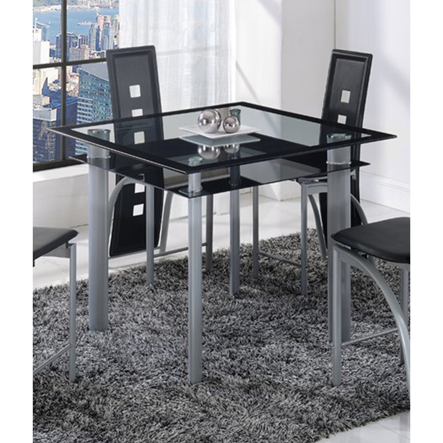 Sophia 5-Piece Counter Height Dining Set in Black - GLO-D1058B-M-SET
