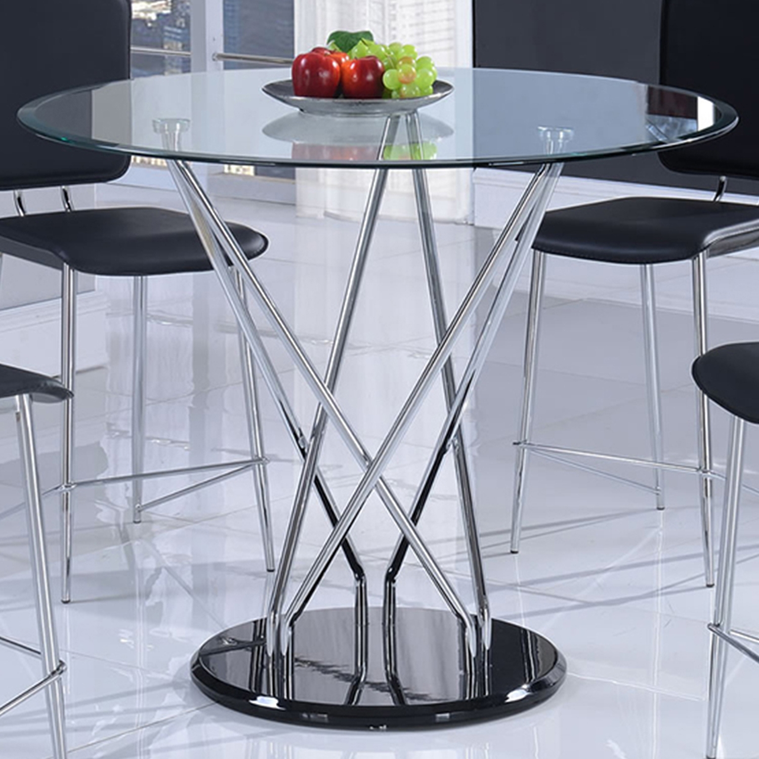 Ariana Counter Height Table in Clear, Chrome, and Black - GLO-D1071BT-M