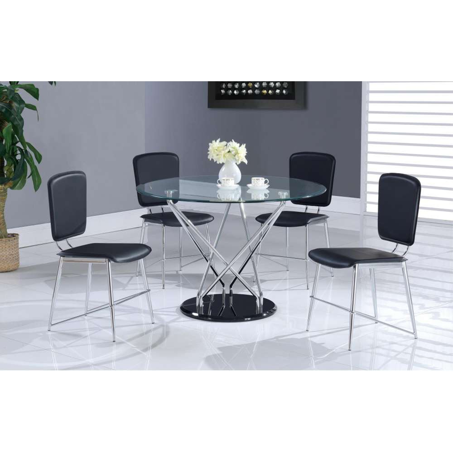 Ariana 5-Piece Dining Set, Chrome Legs - GLO-D1071DT-D1071DC-M-SET