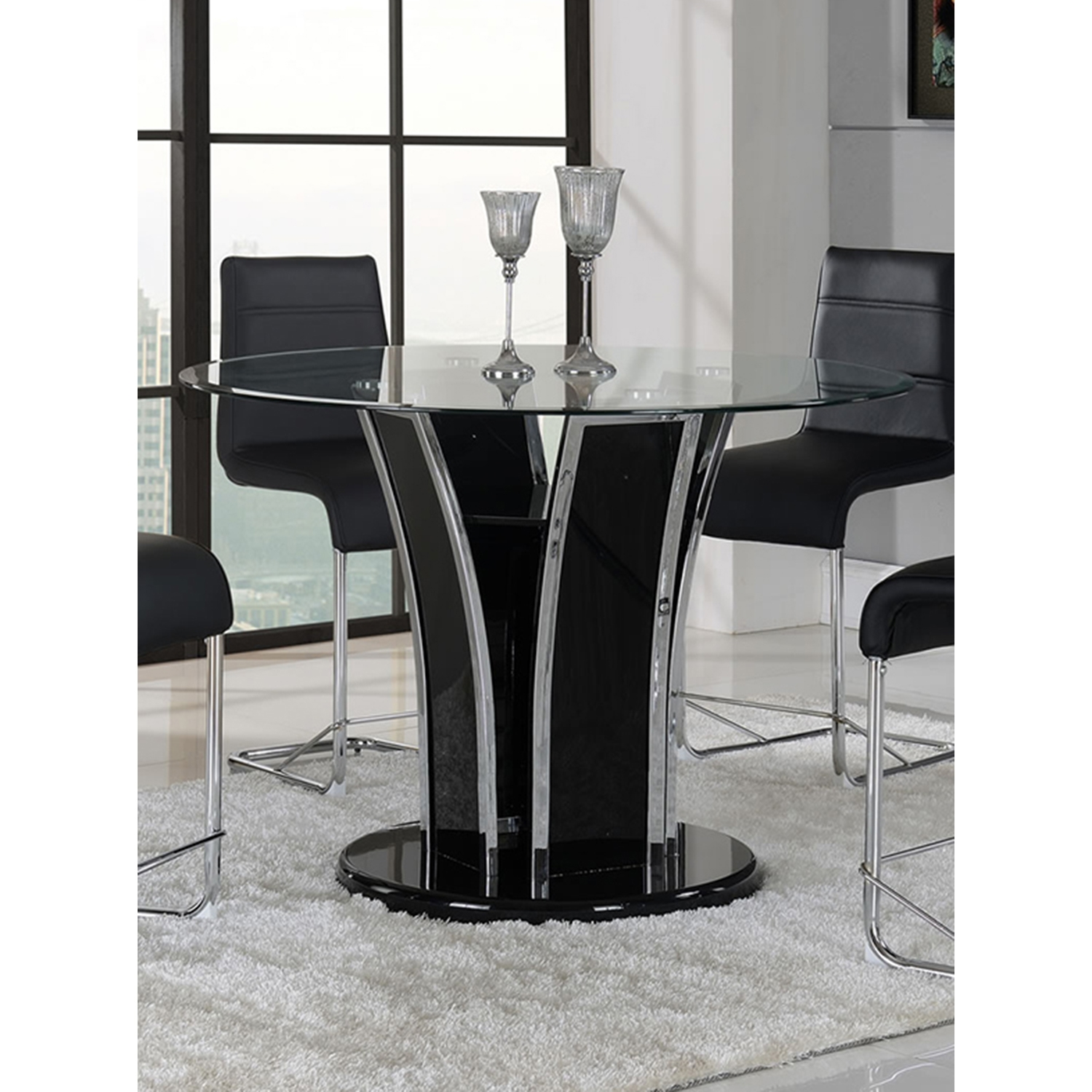 Sophie 5-Piece Counter Height Dining Set - Black - GLO-D1086BT-D1086BS-M-SET