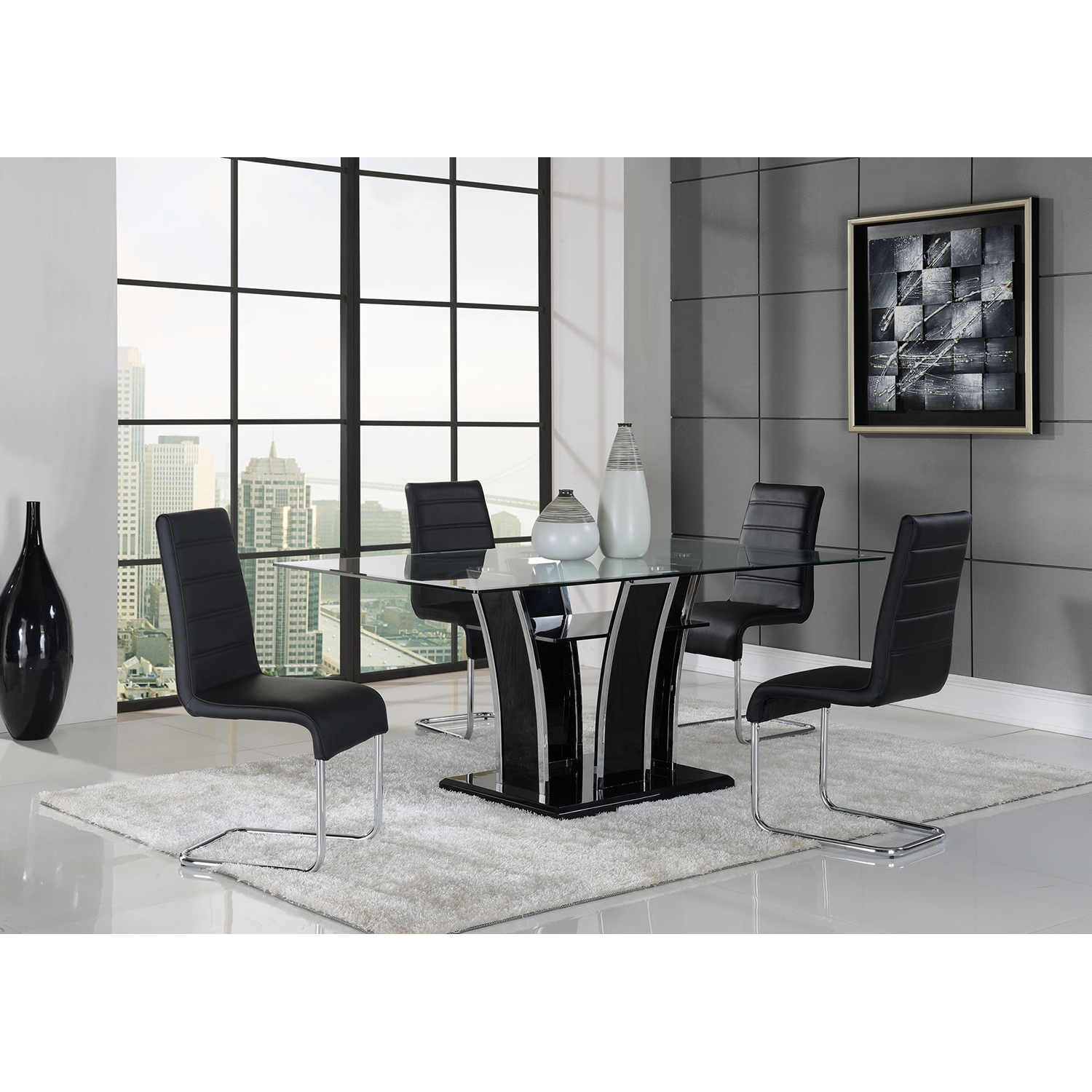 Caitlin Dining Table, Black - GLO-D1087DT-M