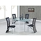 Lydia Dining Table - Frosted and Clear Glass, Silver Legs - GLO-D135DT