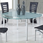 Lydia Dining Table - Frosted and Clear Glass, Silver Legs