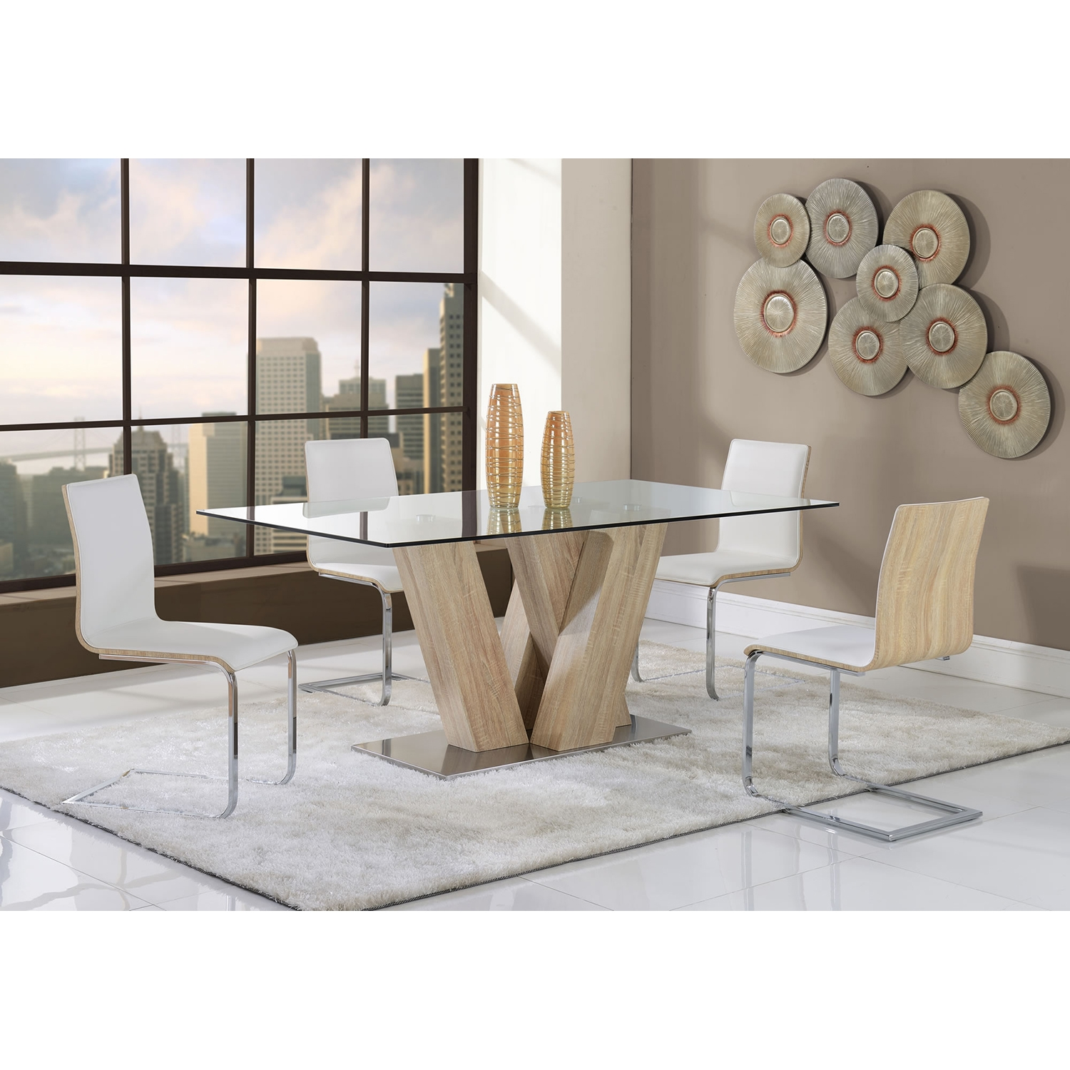 Arianna 5-Piece Dining Set in White - GLO-D2123DT-DC-SET