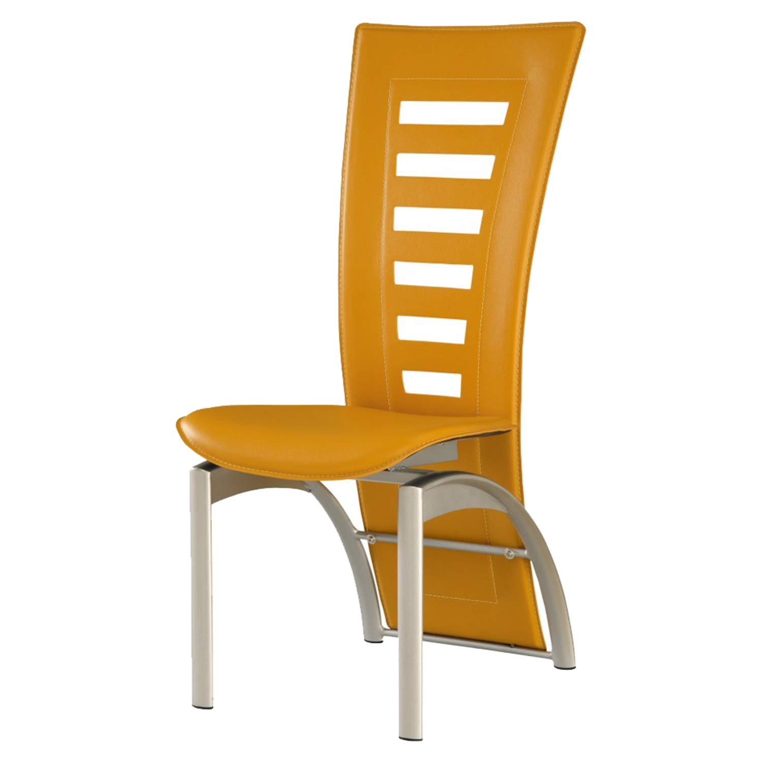 Sabrina Yellow Dining Chair with Silver Legs