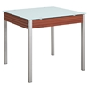 Leonardo Dining Table - Mahogany, Frosted Glass Top, Silver Legs