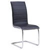 Black Upholstered Dining Side Chair with Chrome Legs