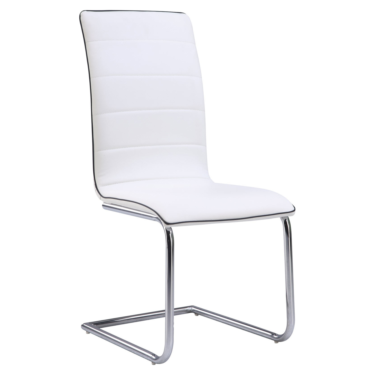 Dining Side Chair - White Upholstery, Chrome Legs