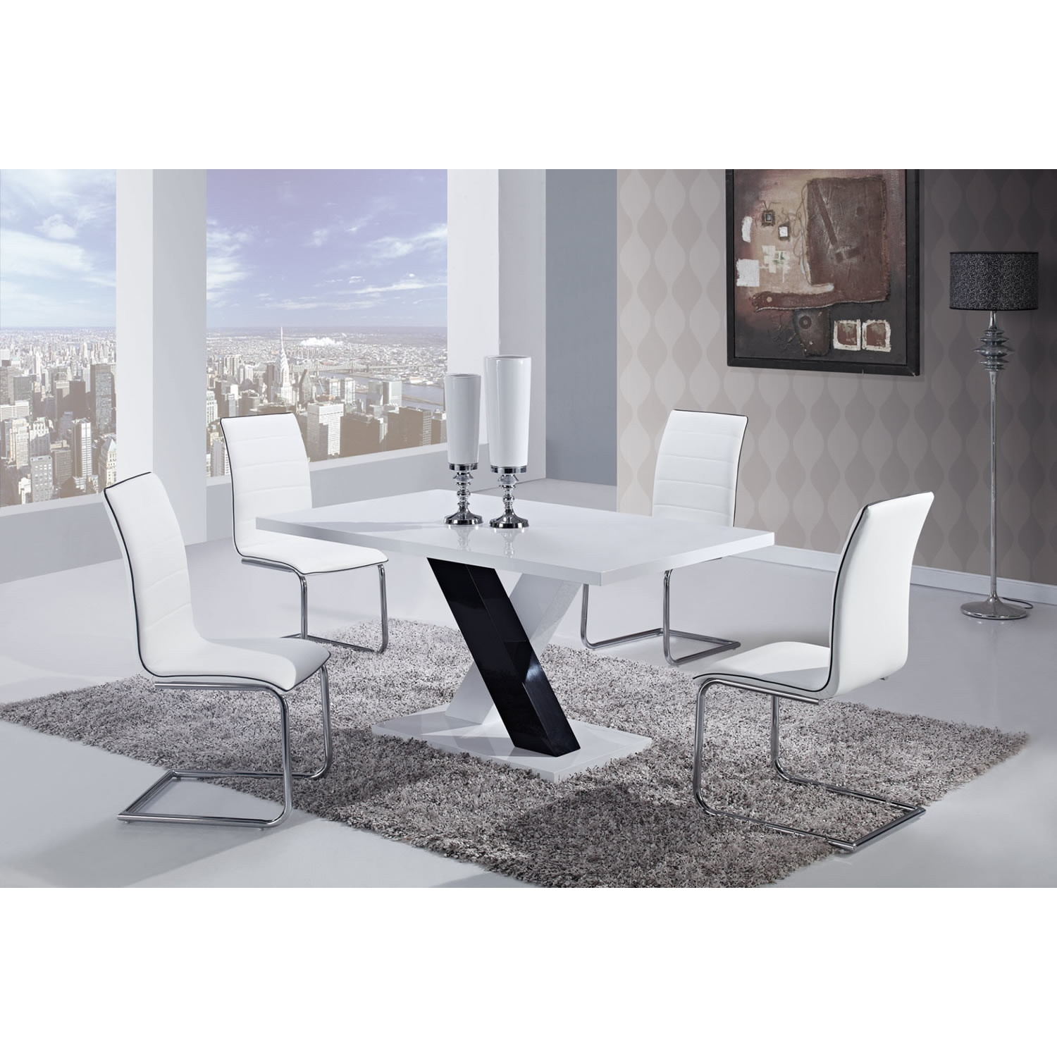 Dining Table - High Gloss White Top, Black and White Legs