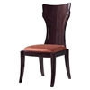 Sara Dining Side Chair in Wenge, Brown Microfiber Seat