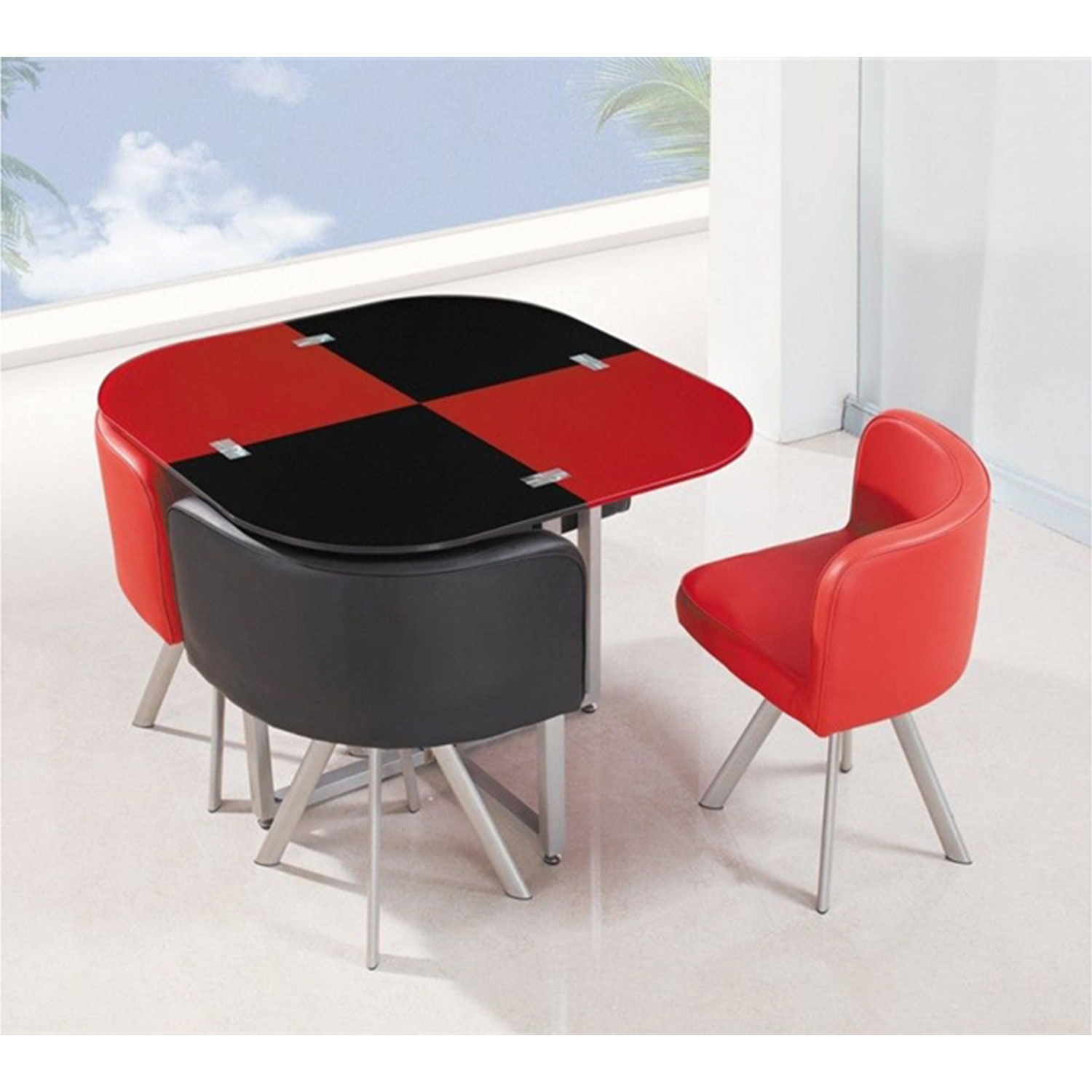 Emma 5-Piece Dining Set, Red/Black