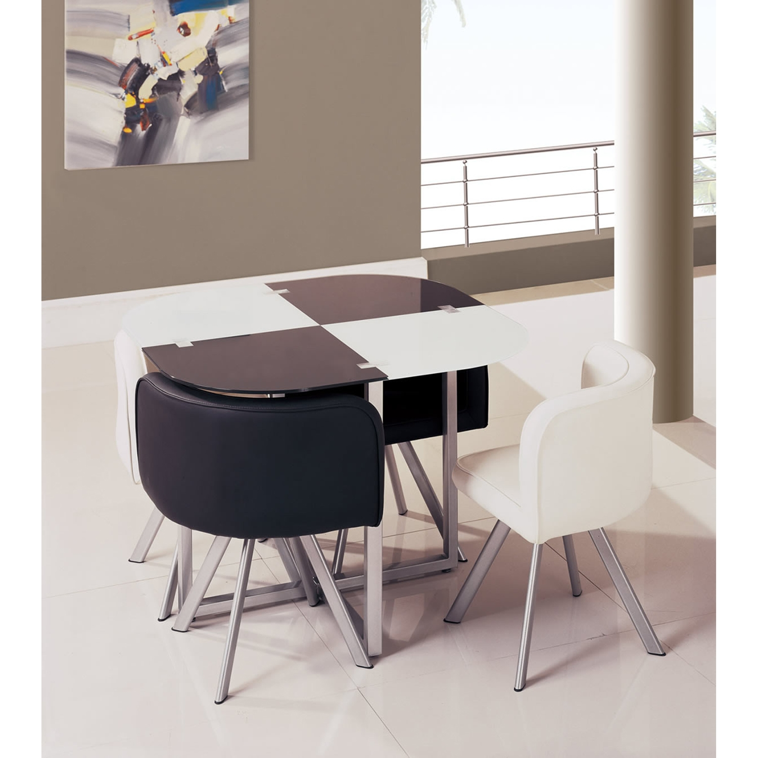 Emma 5-Piece Dining Set in Black/White