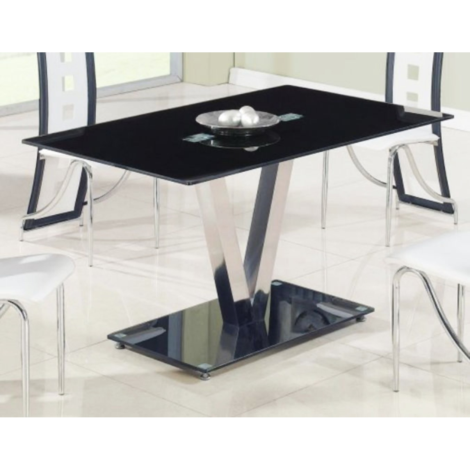 Kiara Dining Table - Black Glass, Stainless Steel Legs