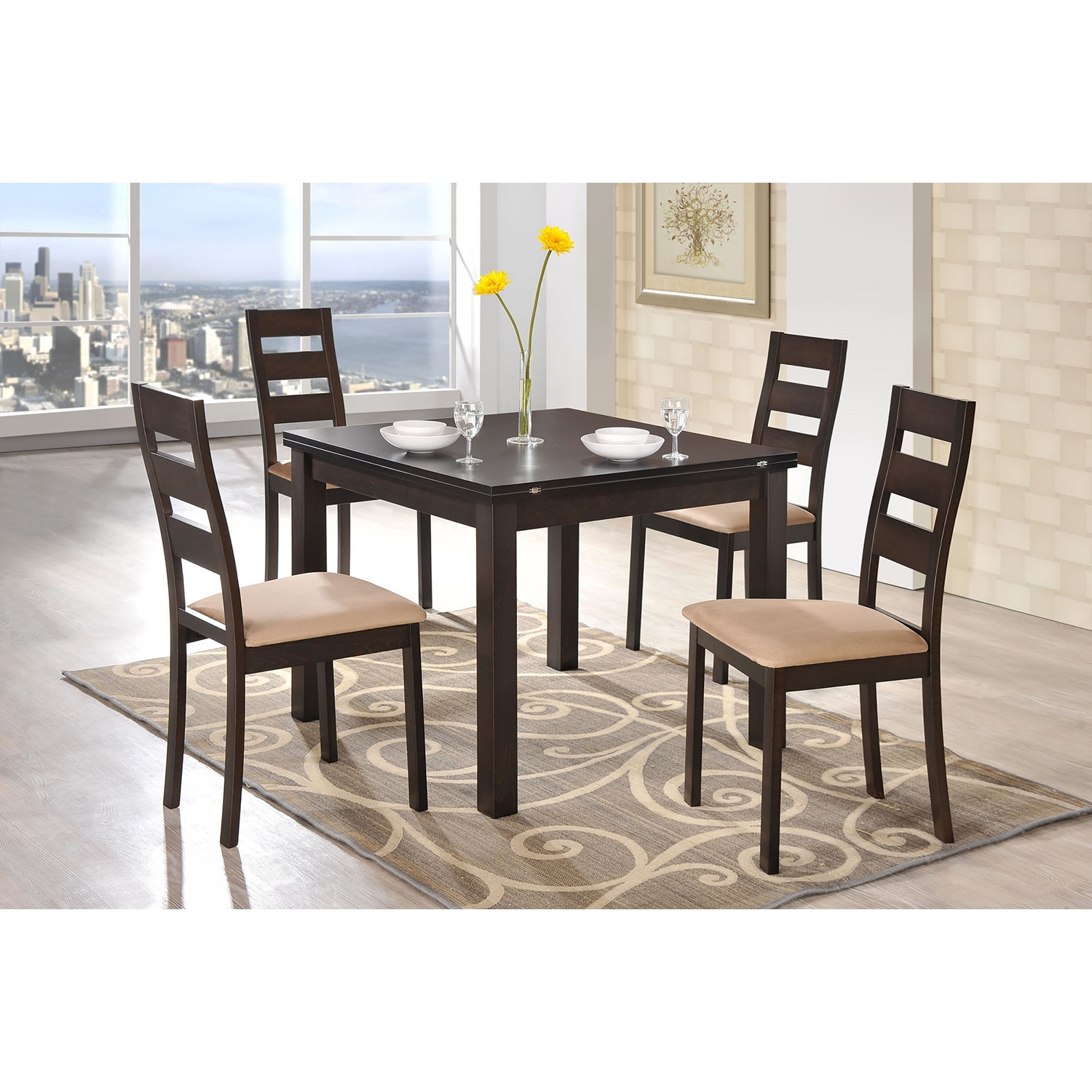 Shelby 5-Piece Dining Set in Dark Walnut - GLO-D6970DT-D2443DC-M-SET