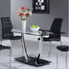 Camila Dining Table - Chrome Legs, Glass Top, Black Base