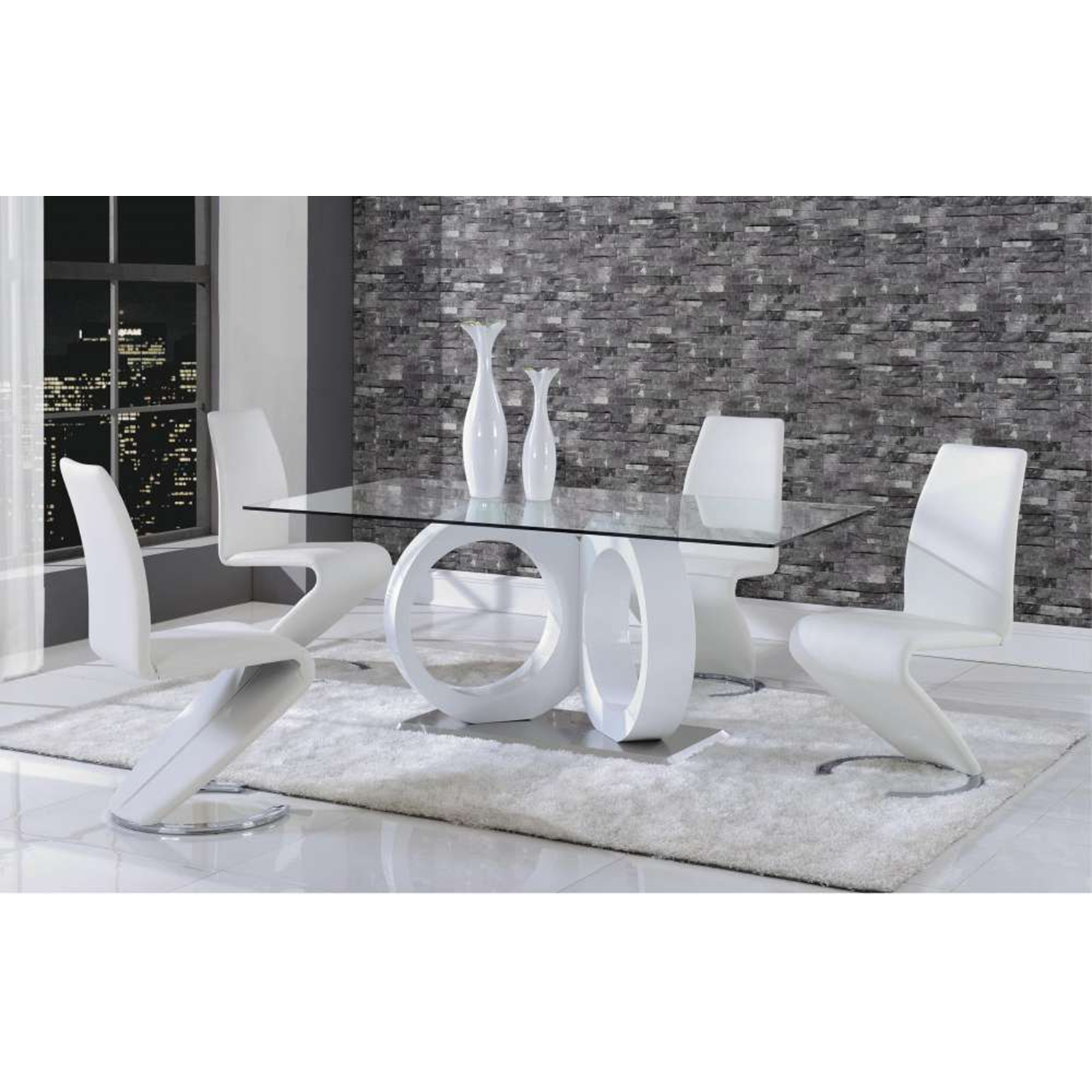 Skylar 5-Piece Dining Set with White Chairs - GLO-D9002DT-DC-WH-M-SET