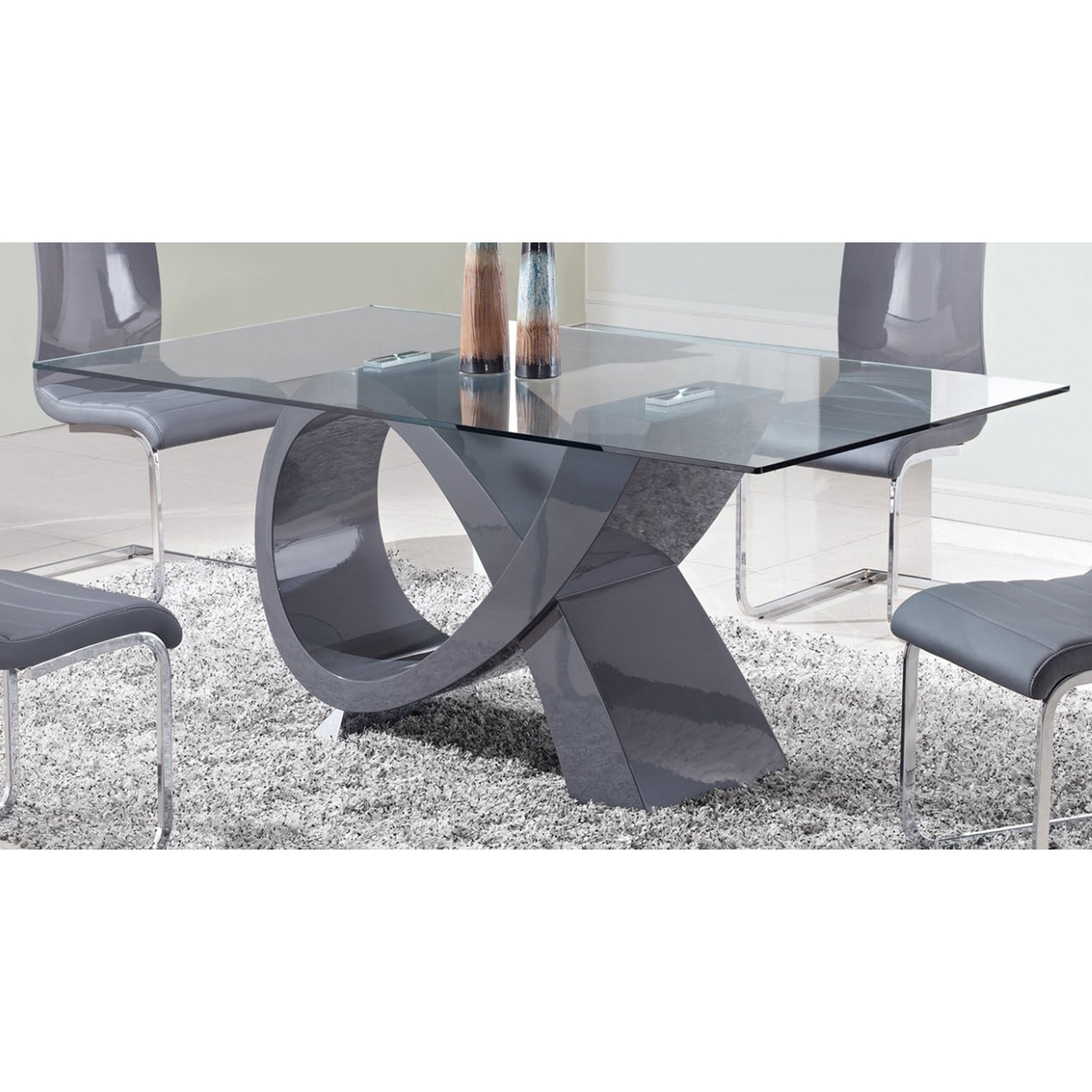 Sergio Dining Table in High Gloss Gray - GLO-D989DT