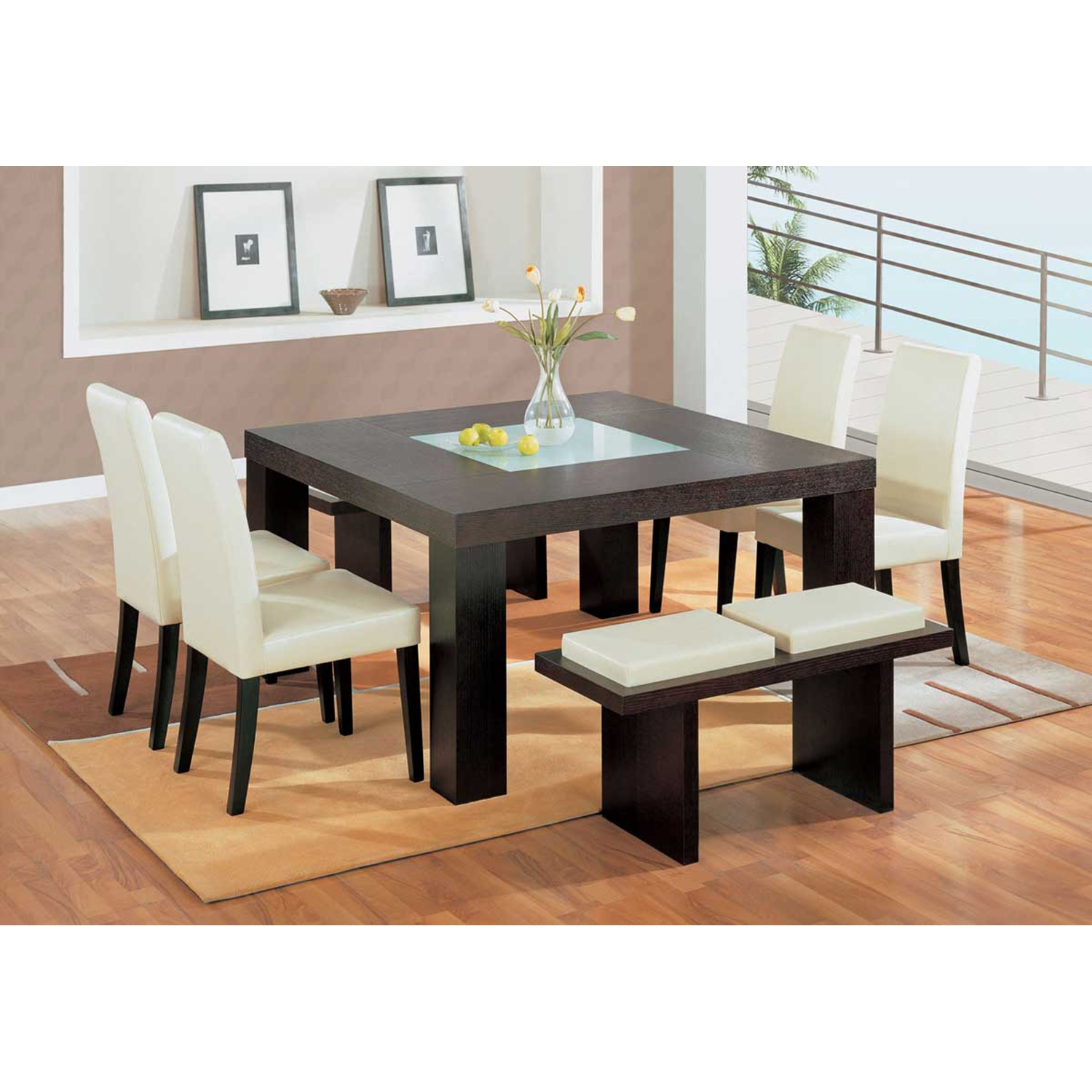 Tristan 6-Piece Dining Set, Beige Chairs, Wenge Table