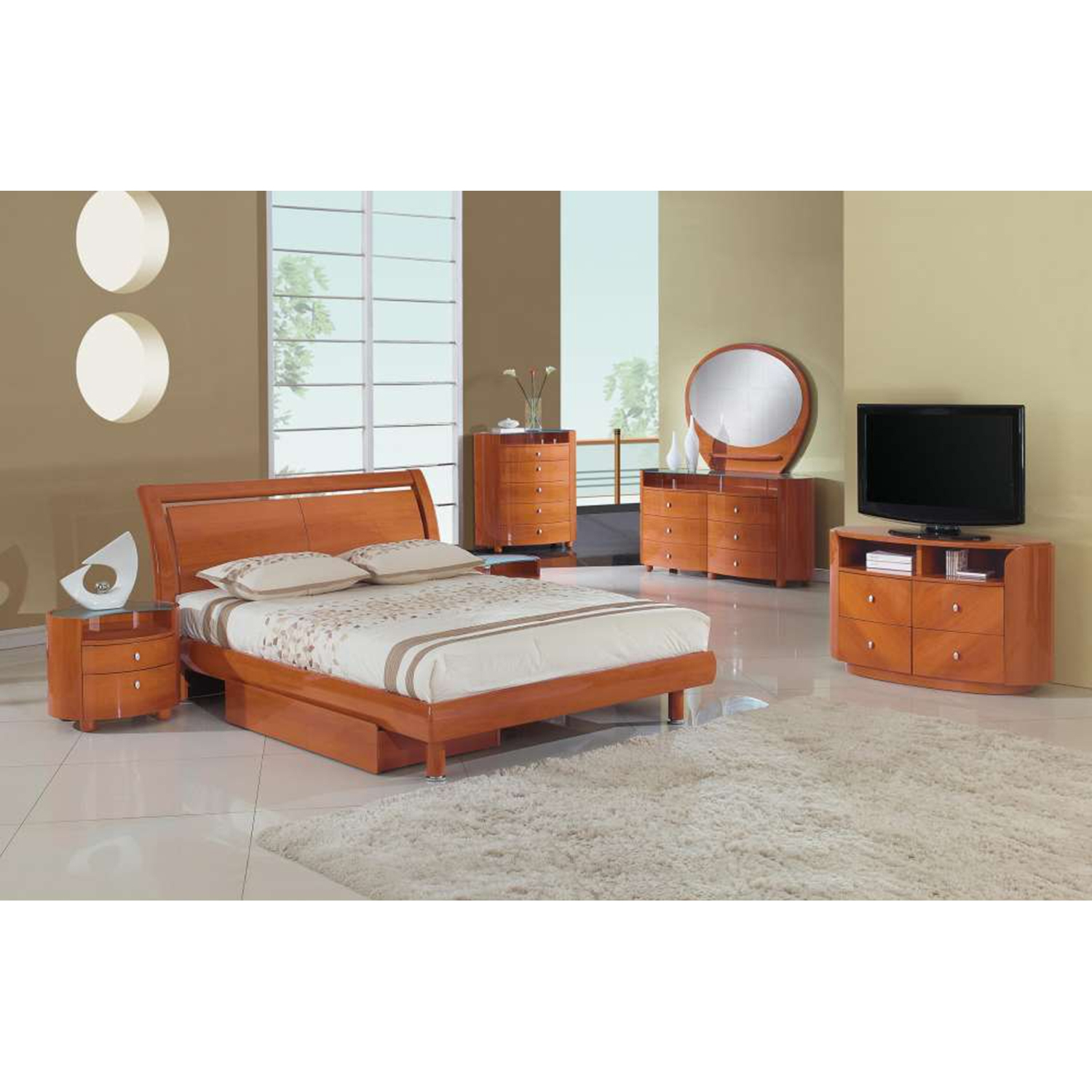 Emily Bedroom Set in Cherry - GLO-EMILY-B86-CH-SET