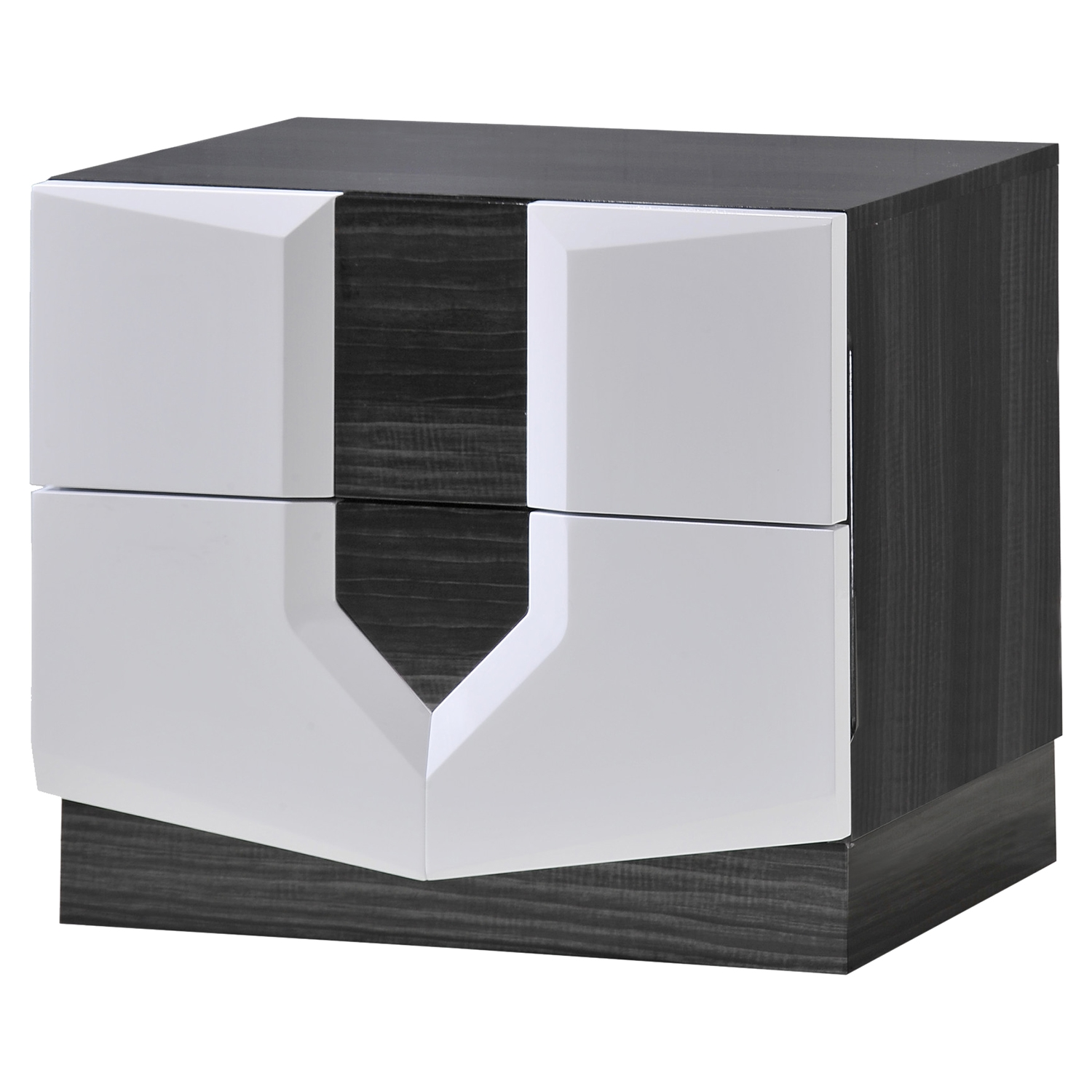 Hudson Nightstand in High Gloss Zebra Gray and White