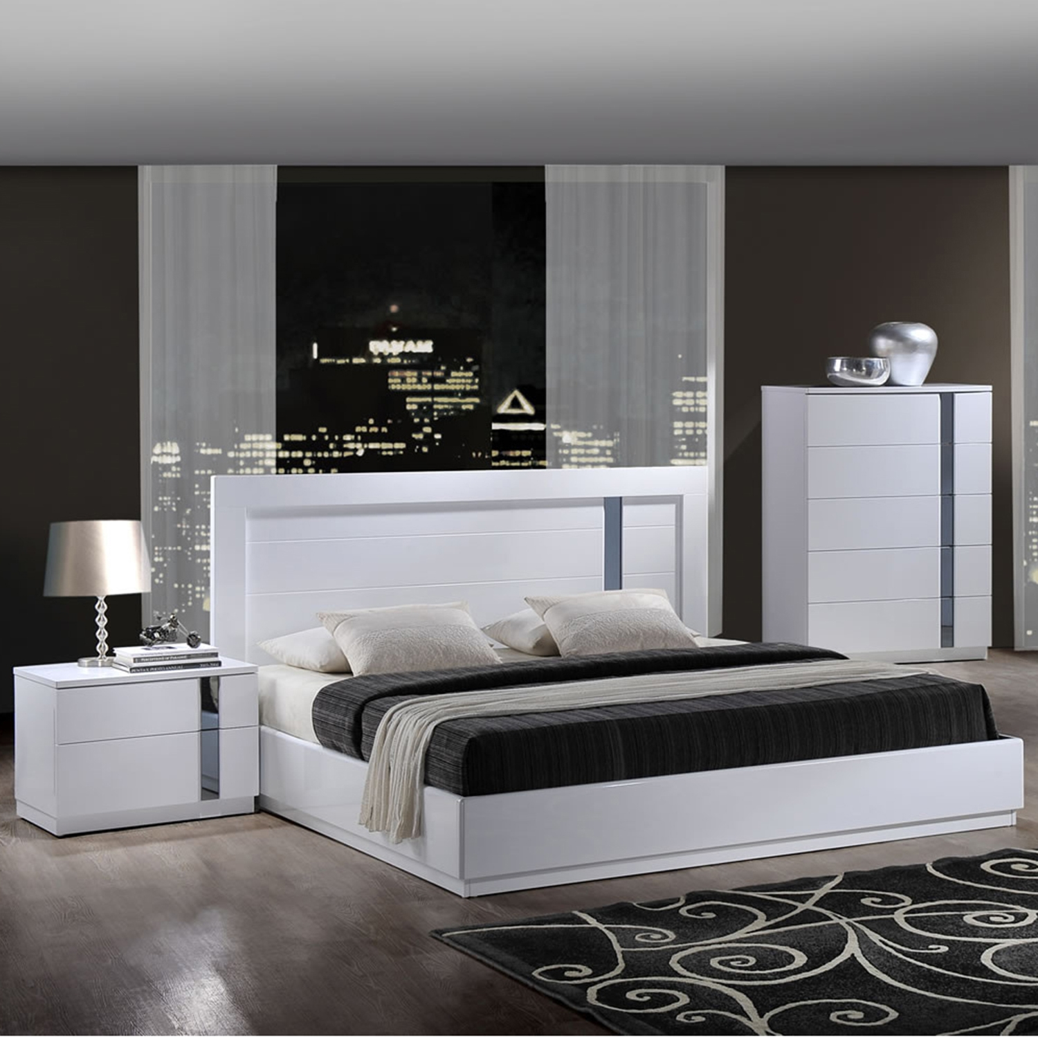 Jody Bedroom Set in High Gloss White