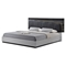 Lexi Bed in Silver Line/Zebra Gray - GLO-LEXI-982A-S-GR-BED