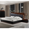 Lexi Bedroom Set in Black High Gloss/Zebra Walnut