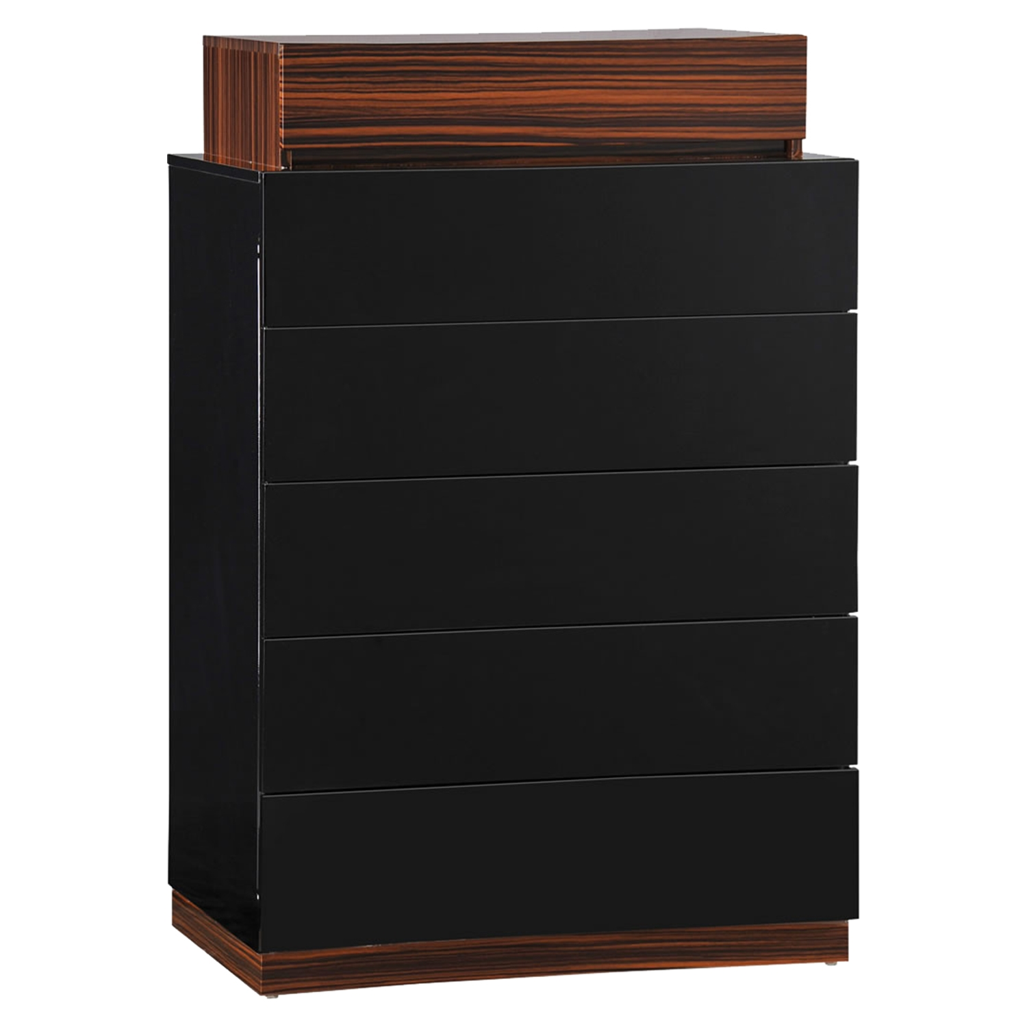 Lexi Chest - High Gloss Black/Zebra Walnut