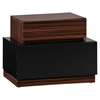 Lexi Nightstand in High Gloss Black/Zebra Walnut