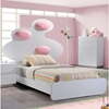 Lola Bed in High Gloss White with Pink Cushion